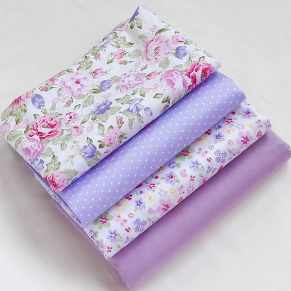 4pcs 40cm 50cm purple twill cotton fabric fat quaters for Purple baby fabric