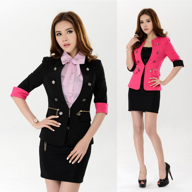 New 2015 spring summer formal blazer female beauty salon for Office uniform design 2015