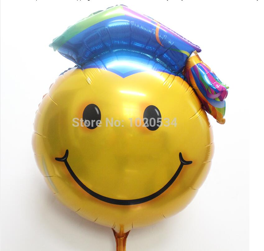 New 53x72cm50pcs/lot Smiling Face Doctor Cap Foil Air Balloons College University Graduation Party Decorations Balloons Supplies<br><br>Aliexpress