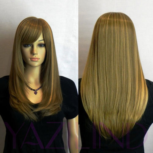 Long Straight Blonde Brown Natural Looking Side Swept ...