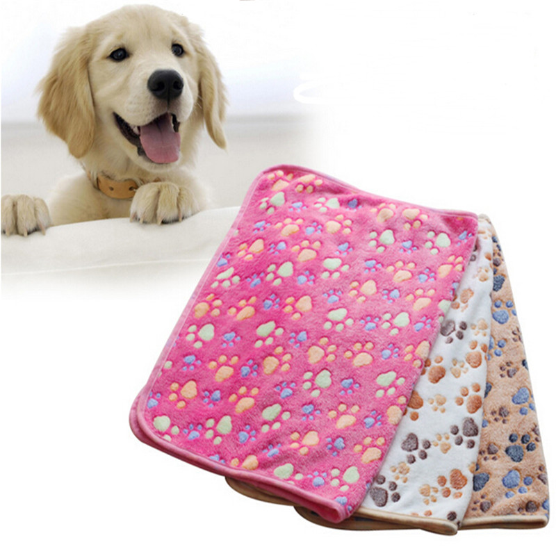 Pet hot sale cute little paw print puppy dog beds soft fleece blanket mat Lint-free(China (Mainland))