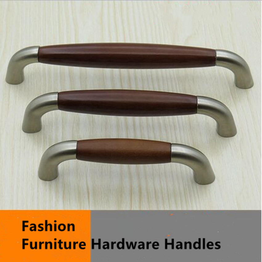 96mm 128mm 160mm modern fashion america furniture handles stain nickel kitchen cabinet drawer pulls knobs red wood handles pulls(China (Mainland))