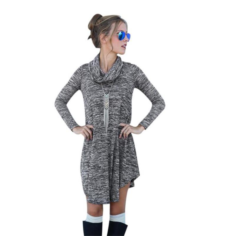 2016 Winter Women Sweater Dress Fashion Knit Long Sleeve casual dress Jumper Pullover vestido blanco #EE  -  TONSEE store store
