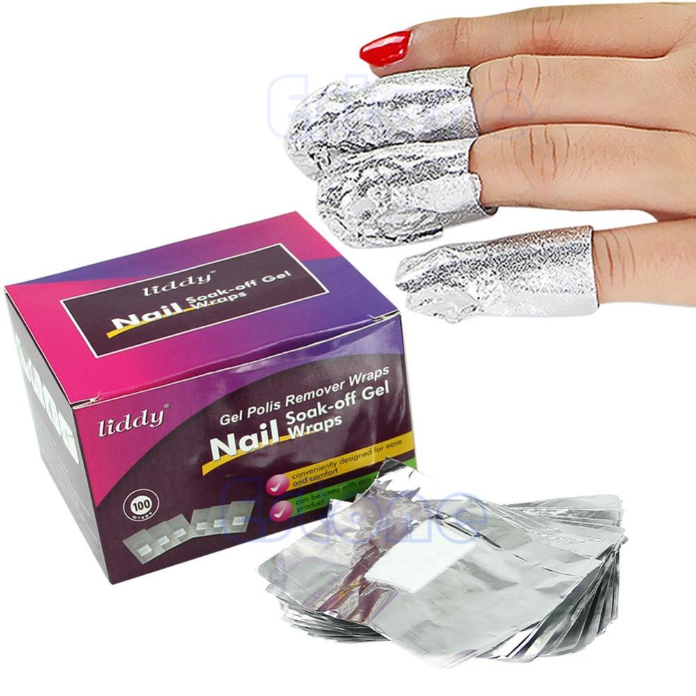 Free Shipping 100pcs Nail Soak Off Gels Wraps Polish Remover Cleaner Nail Art Acrylic Removal(China (Mainland))