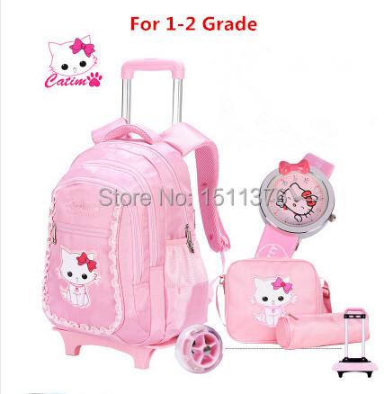 school bags Children 3D trolley mochila infantil escolar kids girls genuine 1-2 removable flash round