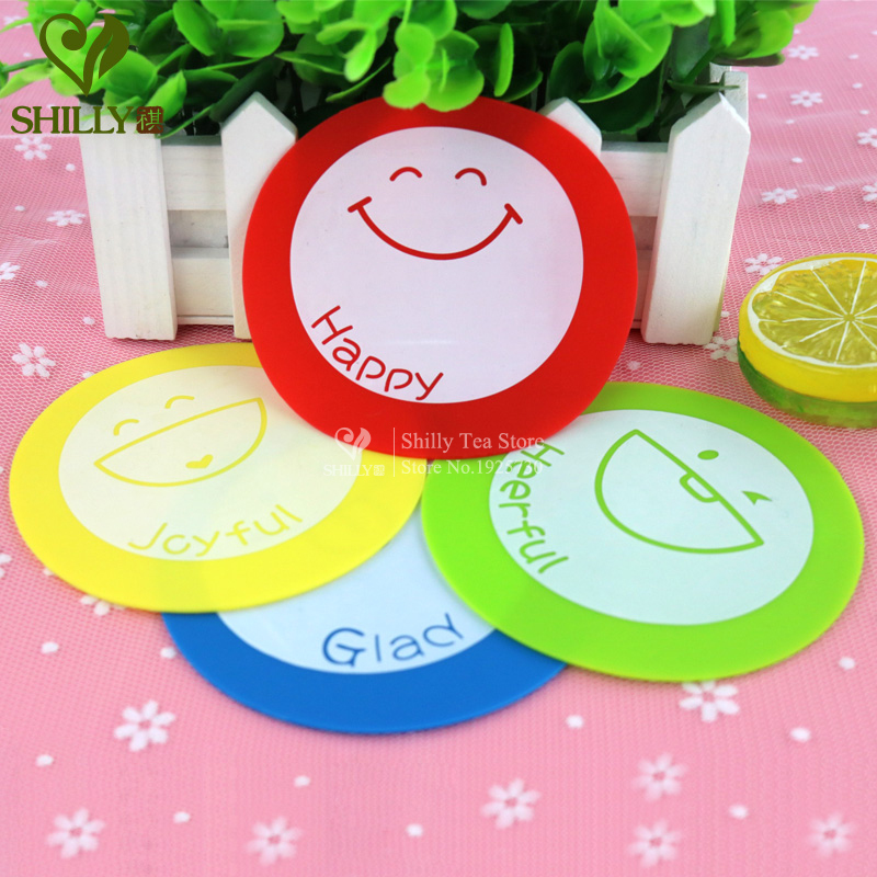 4pcs Silicone Circular Cartoon Coaster mats pads Smile Happy Anti-Heat SkidProof Heart Cup Coaster Dishes Bowls mats & pads(China (Mainland))