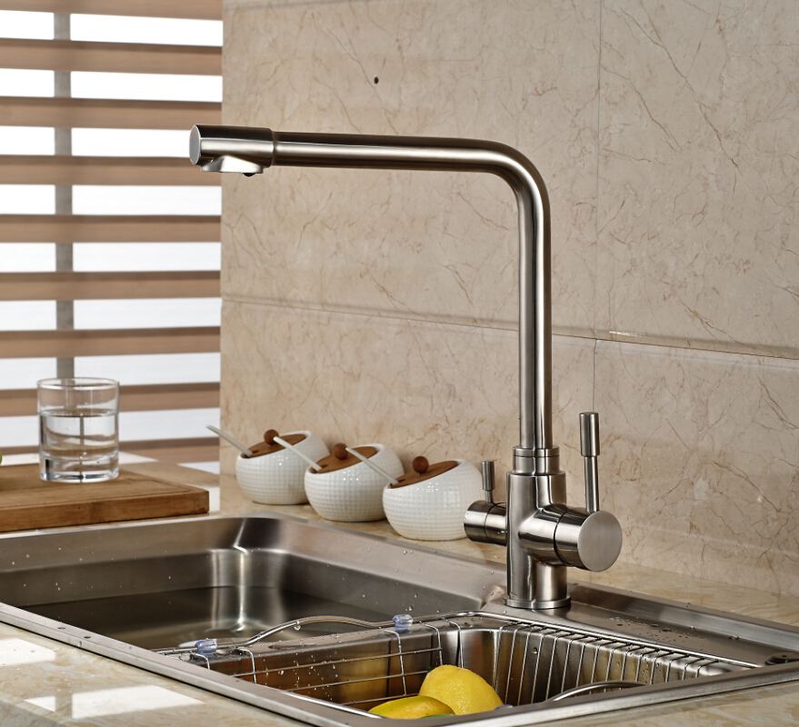 Sus304 Stainless Steel Kitchen Faucets Brushed Mixer Water: Modern Deck Mounted Stainless Steel Nickel Brushed Kitchen