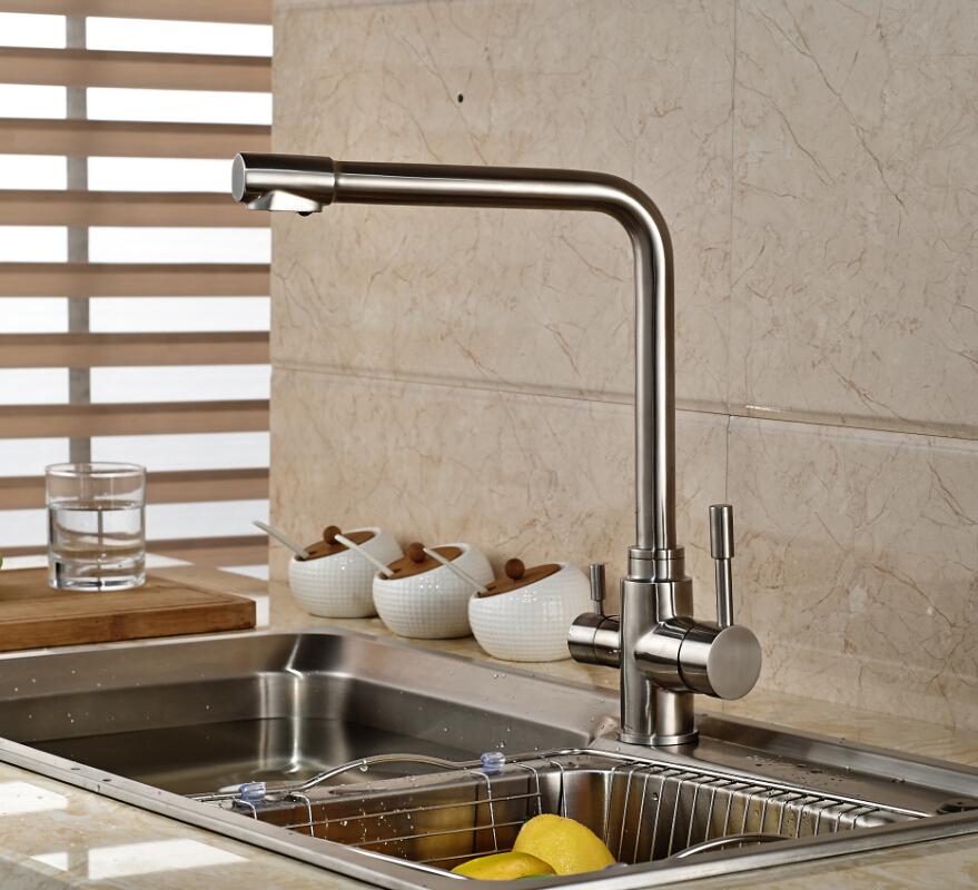 Здесь можно купить  Modern Deck Mounted Stainless Steel Nickel Brushed Kitchen Faucet  Swivel Mixer Tap 2 holes   Дом и Сад