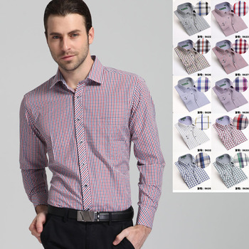 2015 spring New style Men's shirts Long sleeve fine plaid brand dress shirt men Business man casual shirts for men large size