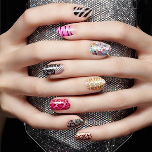 5 pack 90 pcs metal nail art beauty sticke decor gold on decorative stickers forms decoration for nails set free shipping(China (Mainland))