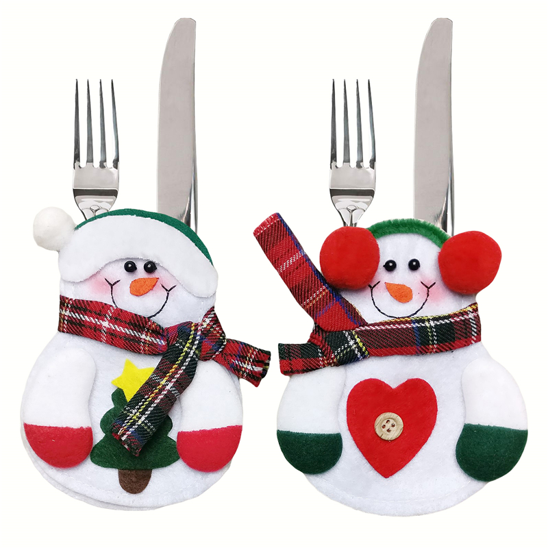 12pcs Xmas Decor Lovely Snowman Kitchen Tableware Holder