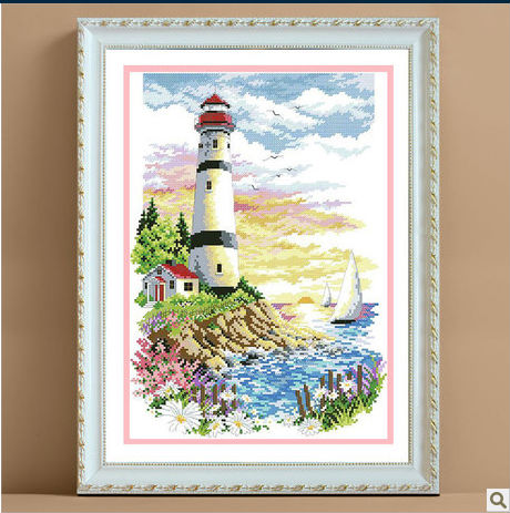 First Class Cross Stitch Kits Light Towel Tree Flower Sea Boat Best Choice Factory Direct Sell(China (Mainland))