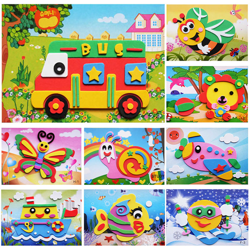 13*17CM EVA DIY Adhesive Stickers 3D Kids Educational Toys For Younger Children Handmade Art Craft Materials Early Education(China (Mainland))