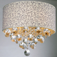 Crystal Ceiling Lamp Light Fixture with Fabric Lampshade MC0581(China (Mainland))