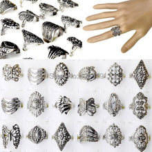 Free Shipping 30pcs Antique Tibet Silver Plated Women Vintage Rings Mix Style Wholesale Jewelry Lots(China (Mainland))