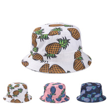 Pineapple Printed Bucket Hats For Women Girls Men 2015 New Fashion Lovely Summer Casual Cotton Fishing Hats(China (Mainland))