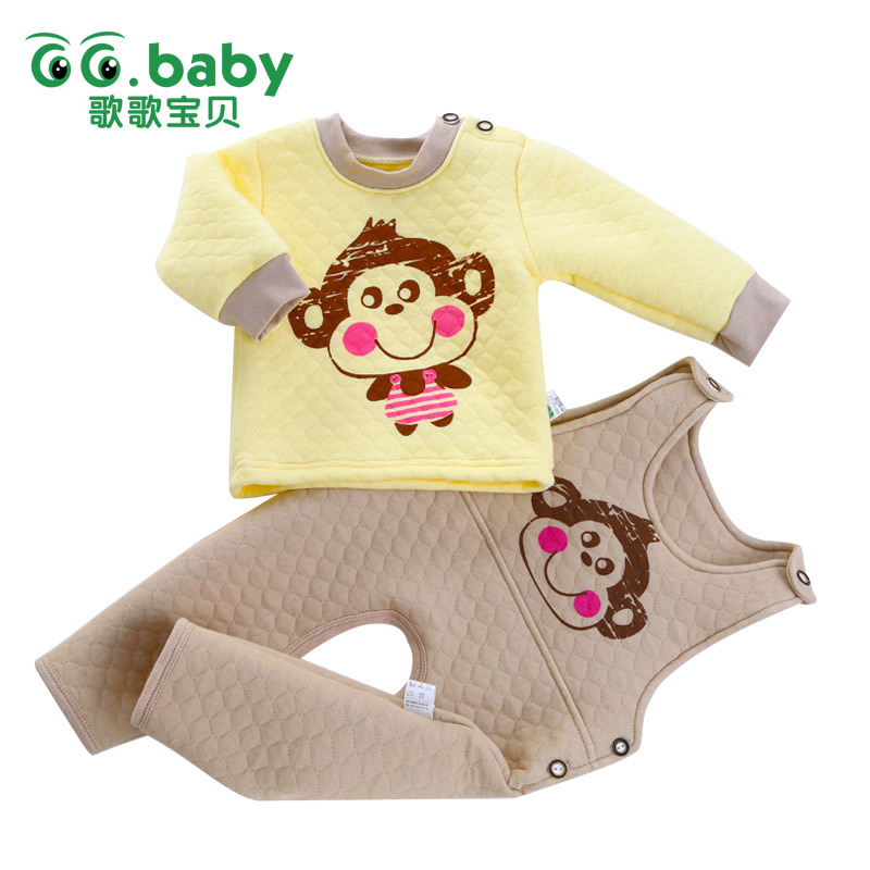 2015 New Infant Boys Winter Clothes Baby Boys Set Winter Autumn Baby Girl Clothing Set Warm Soft Cute Monkey Bebes Top Pants(China (Mainland))