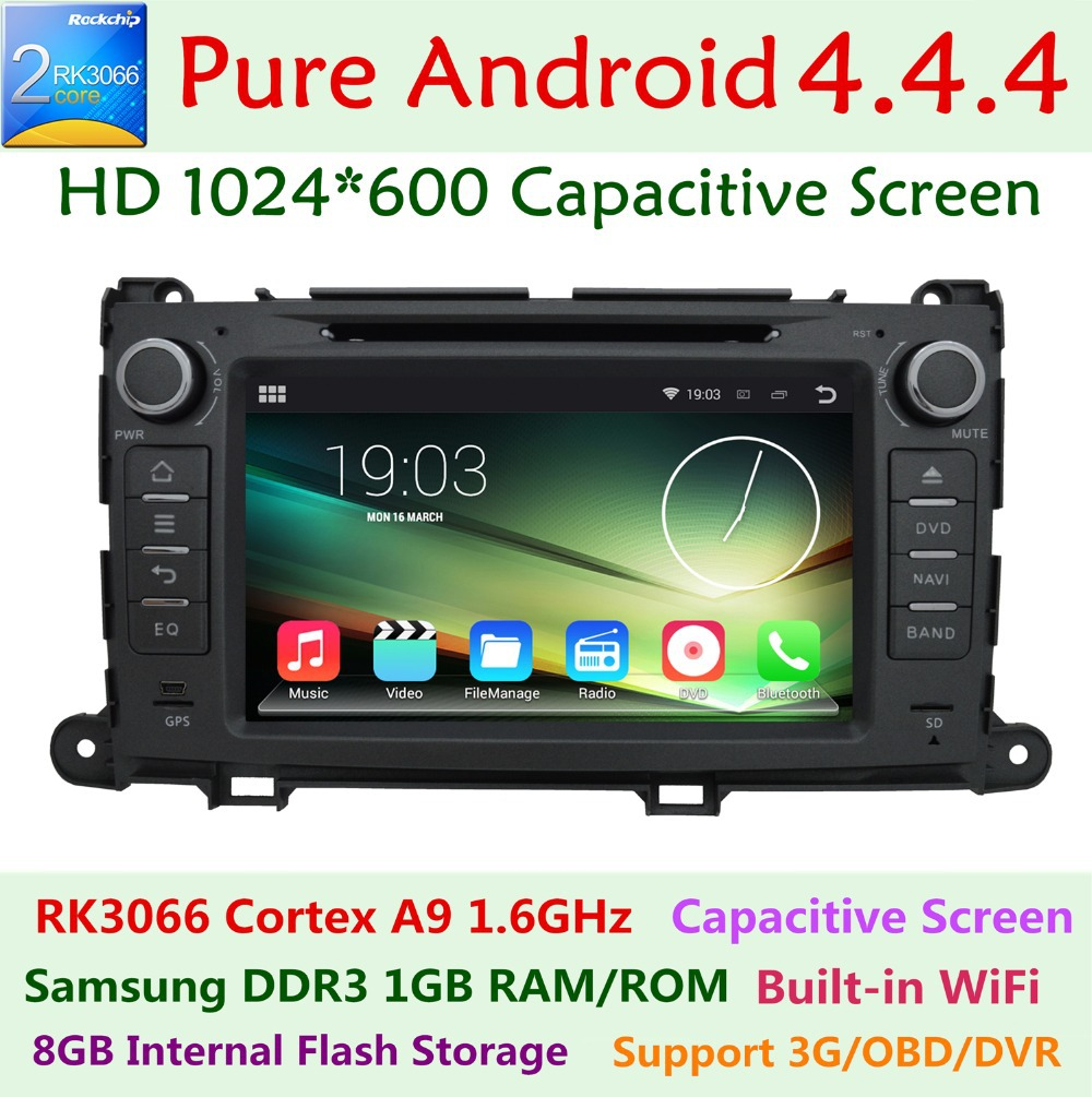 HD 1024X600 Android 4.4.4 Dual Core Car DVD Player For Toyota Sienna 2009-2015 3G WIFI GPS Navigation Radio Stereo BT System(China (Mainland))