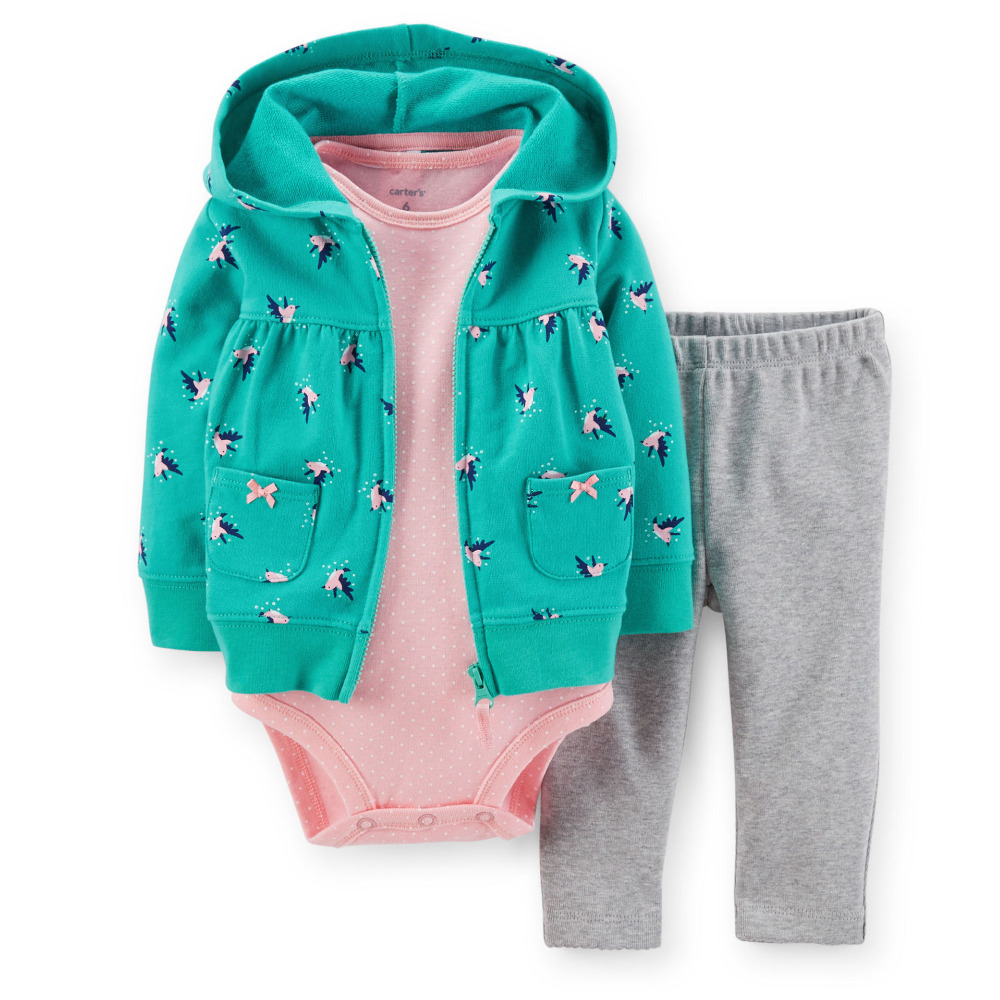 2015 spring/autumn Brand  childens clothing 100% cotton baby girl 3-piece hooded Cardigan Set<br><br>Aliexpress