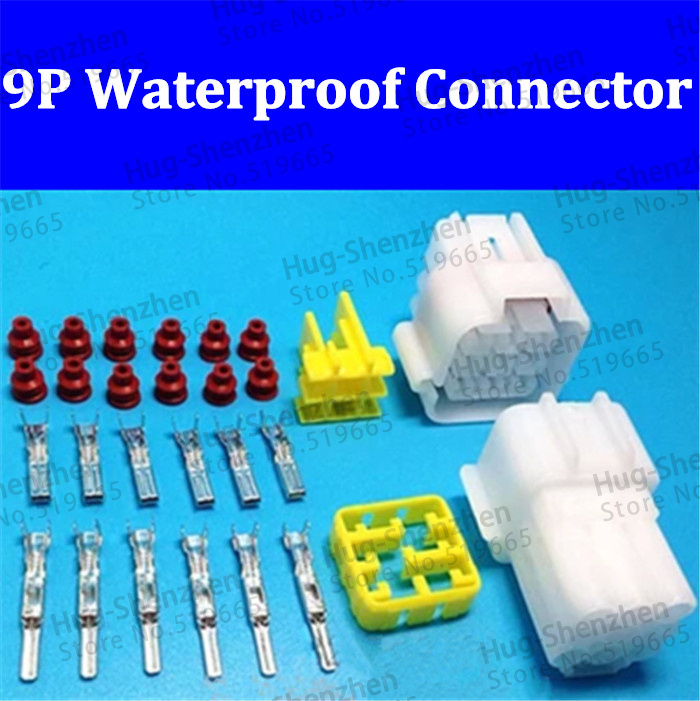 20Sets 9Pin Way Waterproof Wire Connector Plug Car Auto Sealed Electrical Set High Quality(China (Mainland))