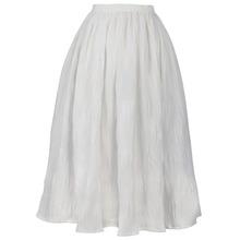 FREE SHIPPING Jungle Me 2016 Summer New Arrival All Match Vintage High Waist A Line Folds White Ball Gown Skirt Women Apparel