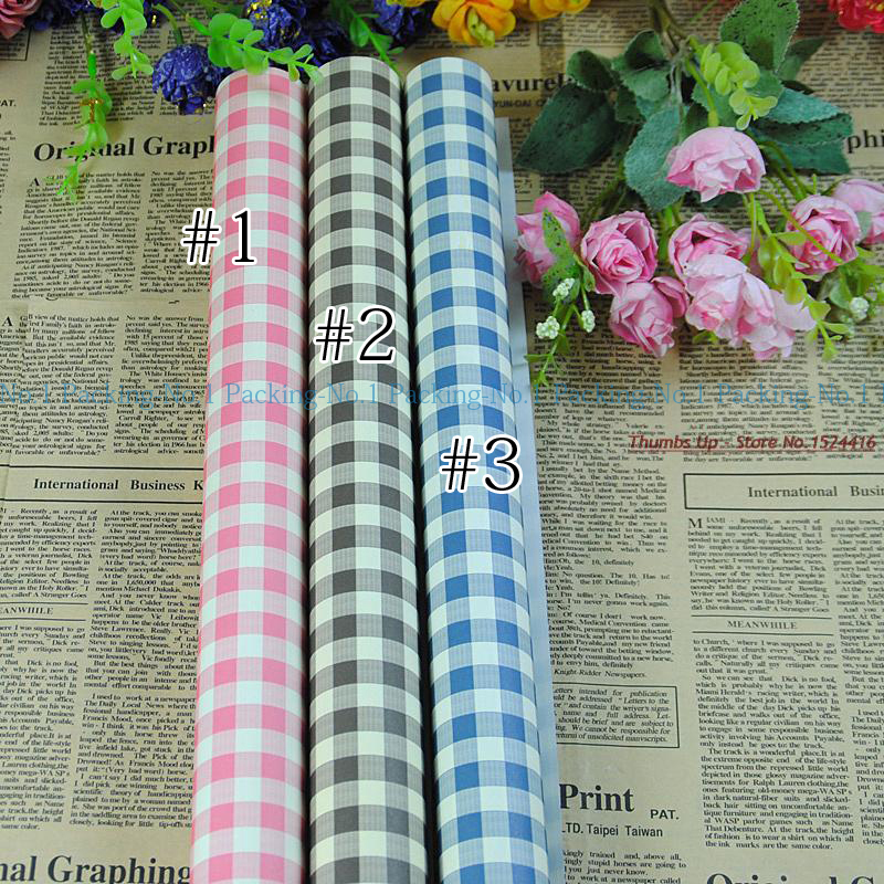 50sheets (1colour) Pink/coffee/blue 52x75cm Checkered Tablecloth check pattern Wrapping Paper(China (Mainland))
