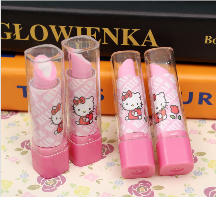 New Arrive Lipstick Design Student Eraser Rubber, Children hello Kitty Eraser, Office & School Supplies kawaii eraser for kids(China (Mainland))