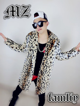2016 Male trench outerwear loose cloak wool coat winter plus Singing in conjunction  leopard costume imitation leather fur coat(China (Mainland))