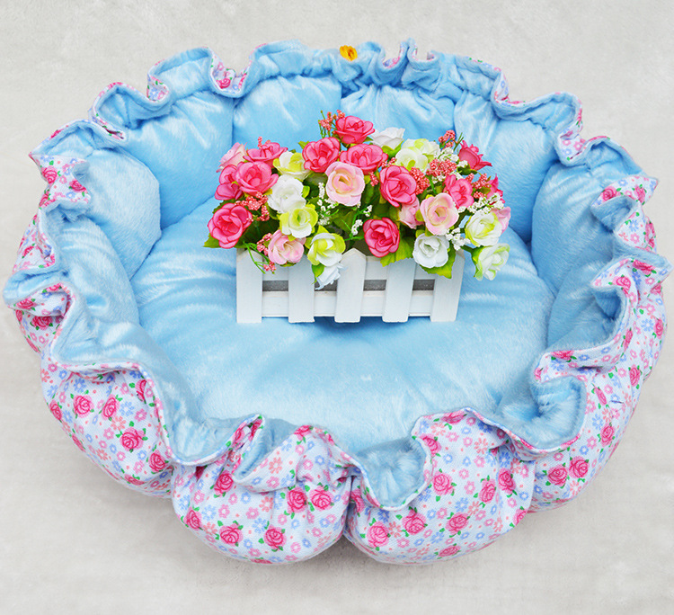 Hot Sales! DOG BOOM Double Color Printing Blue Floral Pumpkin Pet Cat Bed Free Shipping(China (Mainland))