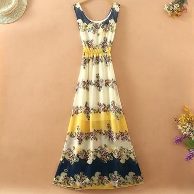 Floral Print Chiffon Long Maxi Dress 2015 New Sleeveless Tank Bohemian Summer Beach Clothing Desigual Vestidos ZL2913(China (Mainland))