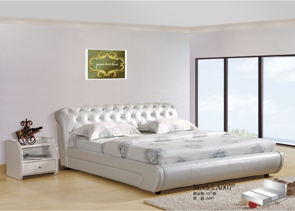 Elegant high quality modern soft white leather bed in for Elegant white bedroom furniture