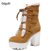 Venta caliente 2016 Nuevo Invierno Gruesa Térmica Botas de Nieve de Peluche Zapatos de mujer de tacón alto Que Atan Los Zapatos Ocasionales de Las Mujeres Calientes Más El Tamaño 43(China (Mainland))