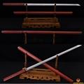Japanese Samurai Katana Sword Ninja Damascus Steel Zatoichi Red Wooden Shirasaya Full Tang Straight Blade Katanas