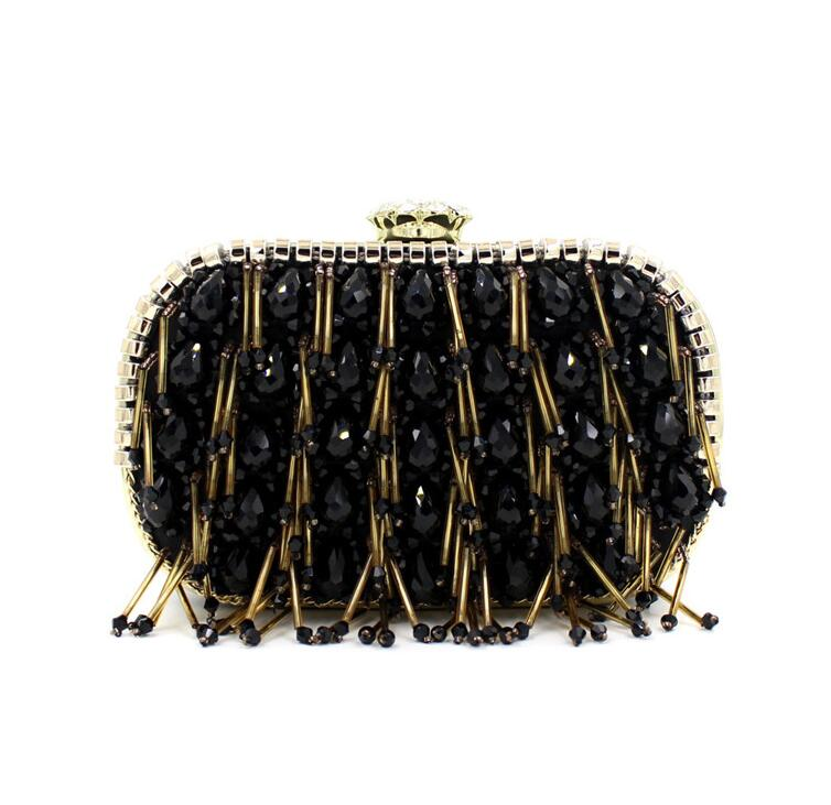 women handbag clutch bag Crystal dress dinner bag canvas tassel fashion bag of diamonds hand bag black all-match<br><br>Aliexpress