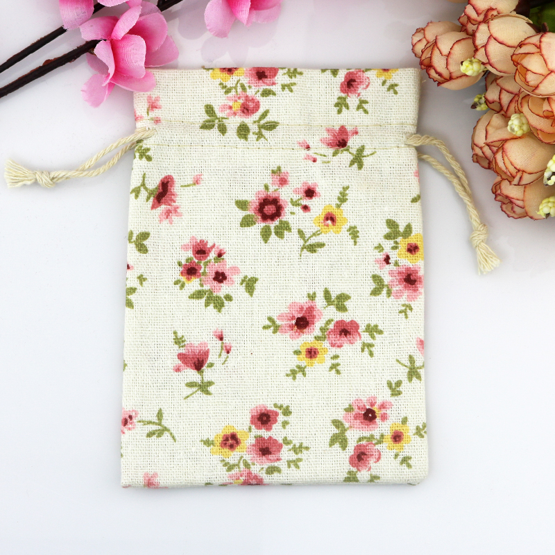50 pieces lot cotton drawstring bag cotton pouch flower for Drawstring jewelry bag pattern