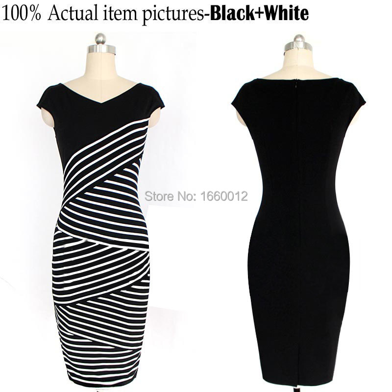 2015 New Fashion Women Sleeveless Classic Striped Casual Bodycon Stretch Party Dress Wiggle Knee-Length Pencil Cotton Dress BW(China (Mainland))