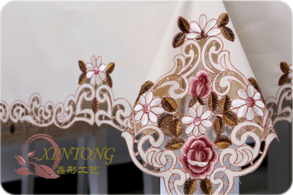 Hot selling Fashionable Polyester Tablecloth Handmade Home Hotel Embroidery Table Cloth Satin Embroidery Floral Table Cloth(China (Mainland))