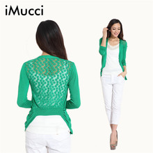Hot! High Quality Fashion Women Cardigan Lace Sweet Candy Pure Color Slim Crochet Knit Blouse Sweater Cardigan 3738 D