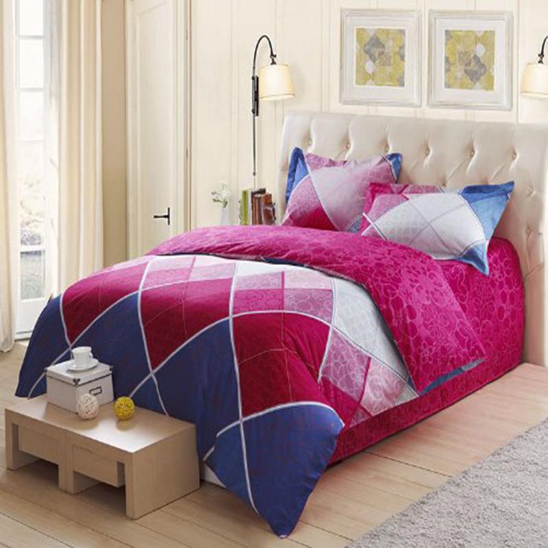 LOVO Laura Ashley 100% Cotton 300TC 2-Piece Bedding Set 1x Duvet Cover 1x Sham Multicolor Diamonds Twin(China (Mainland))