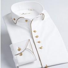 Nouveau style français mâle long sleev col coton 100% slim Fit hommes robe chemise mode(China (Mainland))