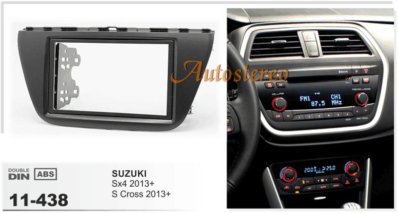 Double Din Car Radio fascia Facia for SUZUKI SX4, S Cross 2013+ car Two DIN DVD Refitting Frame Dash Kit Audio Bezel Facia FACE(China (Mainland))