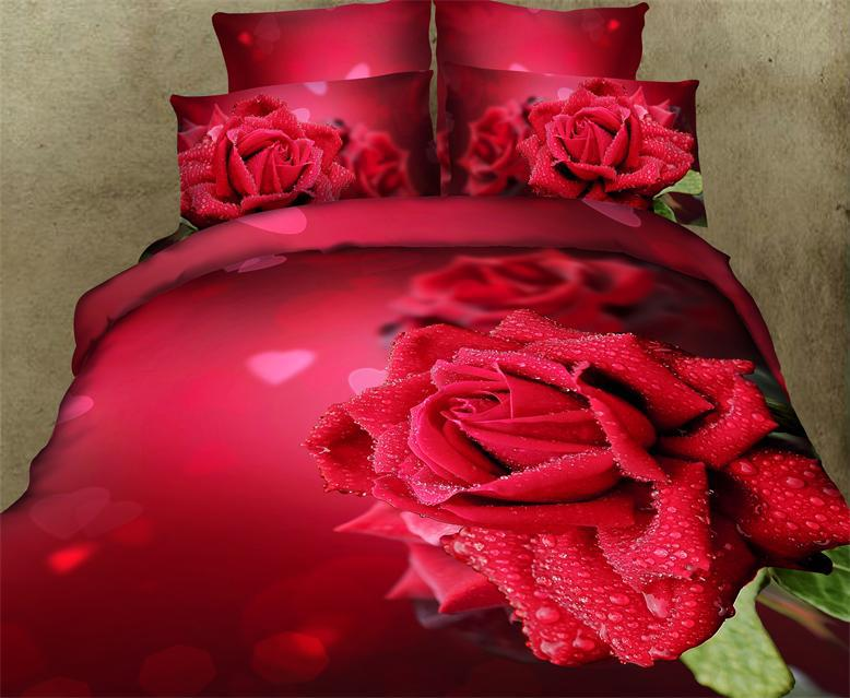 3d red rose imprim aqua amour de mariage literie couette ensembles pour queen couvre lit housse. Black Bedroom Furniture Sets. Home Design Ideas