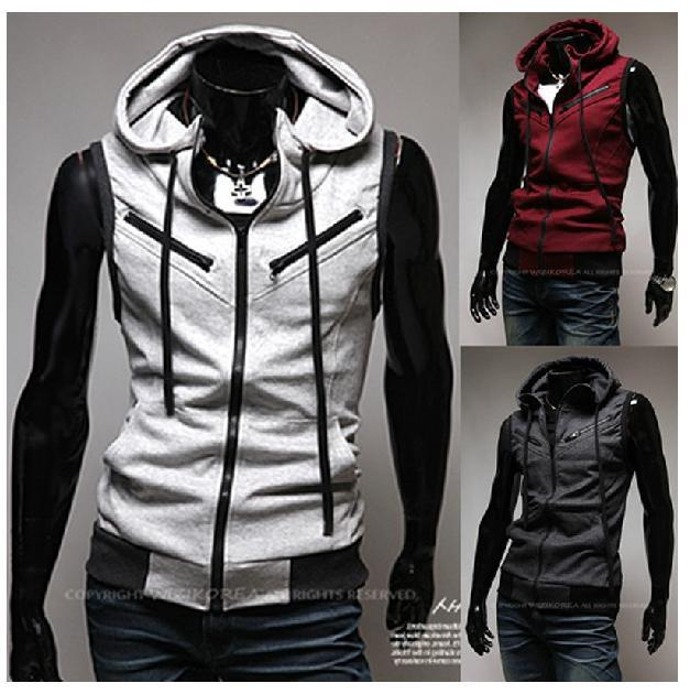 Fashion Men Vest Hooded Sleeveless Cardigan College Style Inclined Zipper Design Mens Vests Free Shipping Christmas Gift M02(China (Mainland))