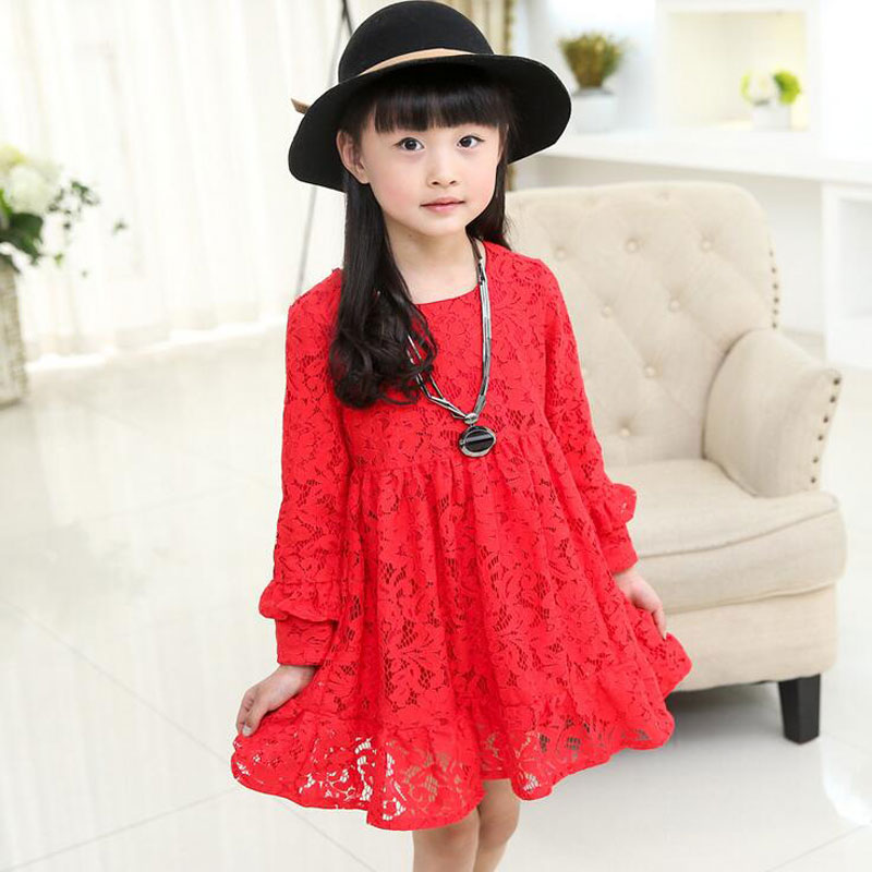 2016 Fashion Girls Lace Dress Hollow Infant Costume Spring Long Sleeves Mesh Kids Dresses Children's Party Dress For Children(China (Mainland))