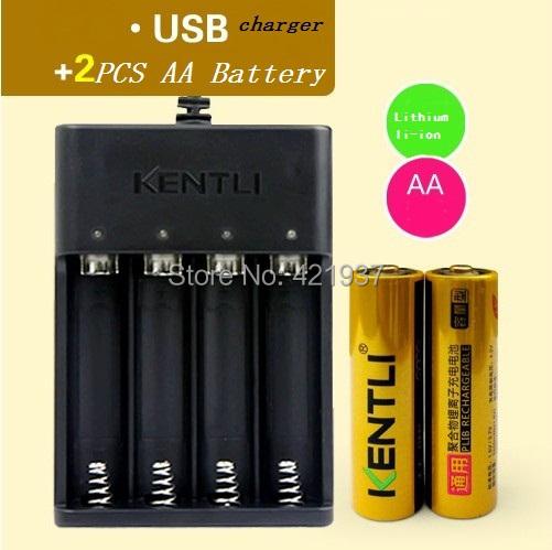 KENTLI 1.5V AA 2400mWh mAh Lithium Li-ion Li-polymer Rechargeble Battery + USB Quick charger
