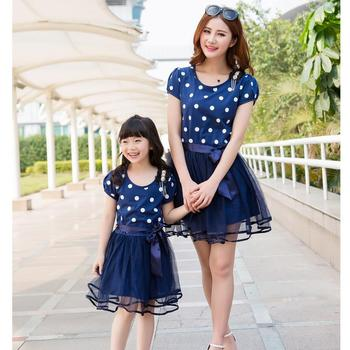 Mother and Daughter Clothes Mom and Daughter Dress New 2016 Mother Daughter Dresses Fashion Blue Dot 2-10Yrs Girls Dress Lovely