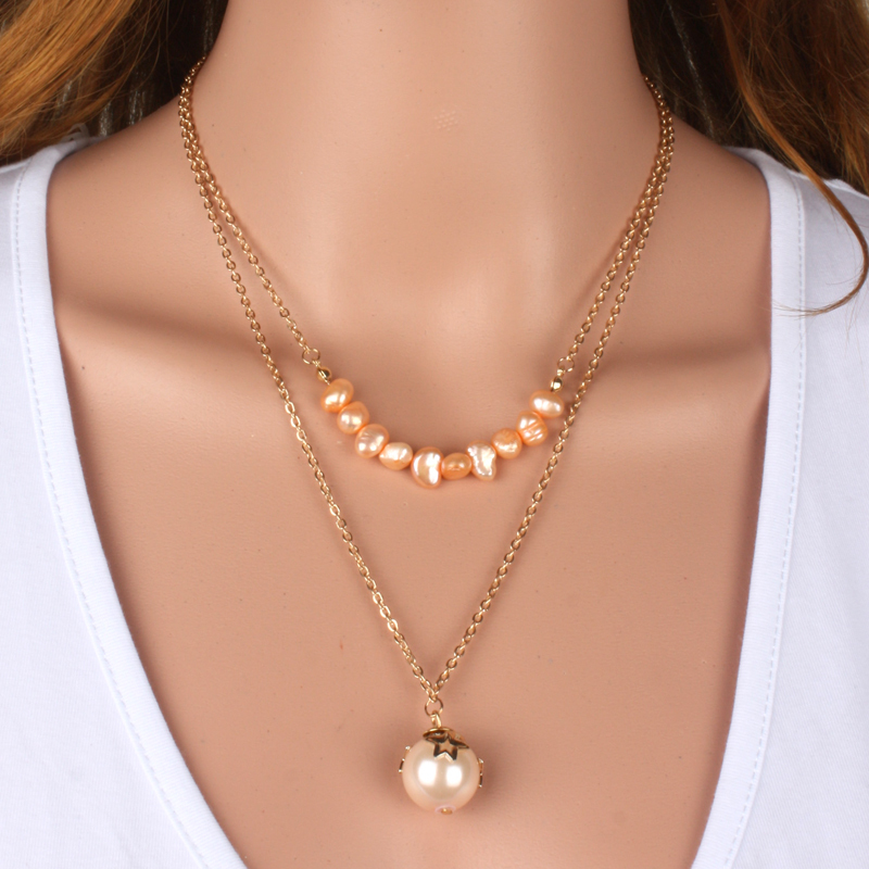 gold chain necklace freshwater pearls necklace accessories charm pendant necklace 2015 women jewelry 1840