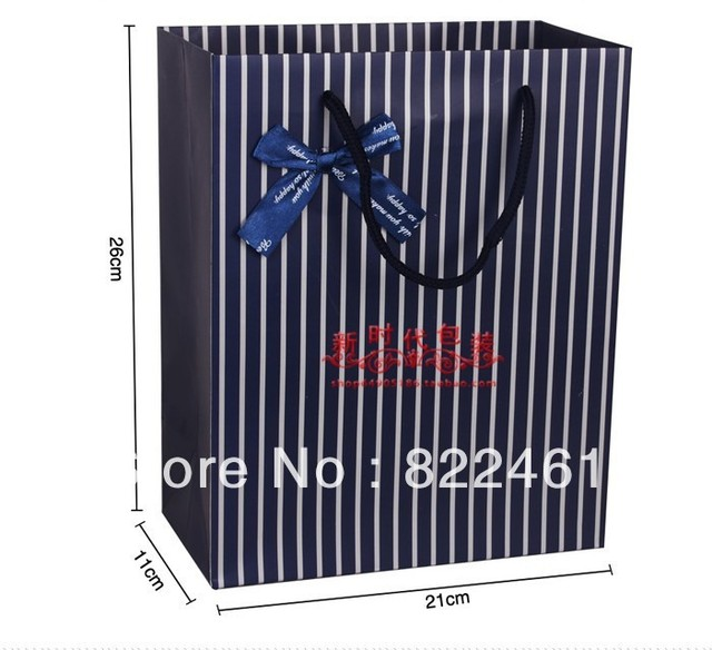 26*21*10CM Han edition exquisite gift bag blue stripes gift bag vertical version of the tether paper bags wholesale