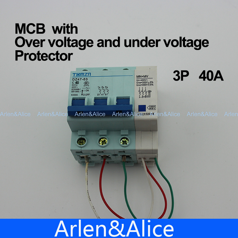 3P 40A  400V~ 50HZ/60HZ MCB with over voltage and under voltage protection  Mini Circuit breaker C45 C type<br><br>Aliexpress