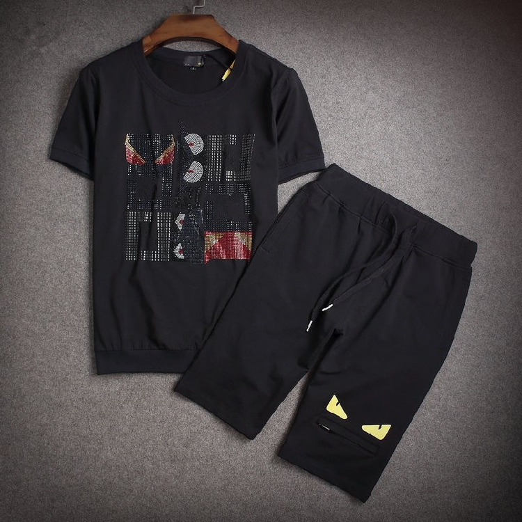 Little monsters male casual set men's clothing mercerized cotton short-sleeve t-shirt shorts fashion sportswear running suit(China (Mainland))